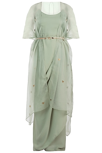 Sage Green Bodysuit With Kimono Style Cape by Rishi & Vibhuti