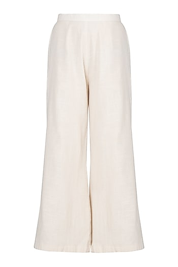 Ivory Flared Pants by A-Sha By Rishi & Vibhuti