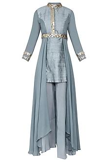 Blue Embellished Kurta with Pants and Belt by Rishi & Vibhuti