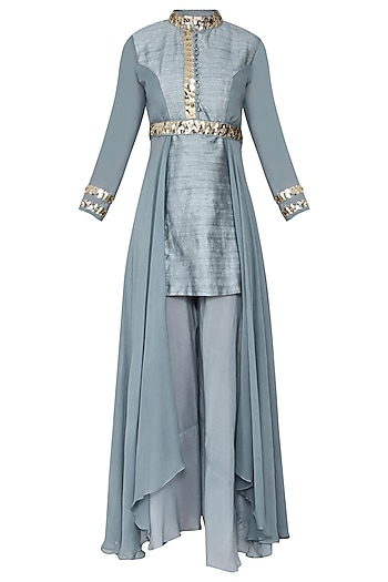 Blue Embellished Kurta with Pants and Belt by Rishi & Vibhuti