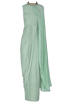 Sea Blue Drape Maxi Dress with Belt by Rishi & Vibhuti