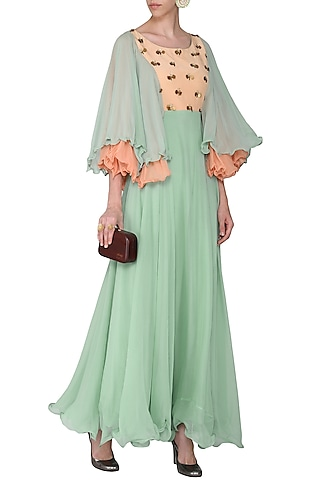 Mint Green and Peach Embellished Maxi Dress by Rishi & Vibhuti