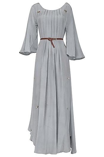 Powder Blue Asymmetrical Maxi Dress with Belt by Rishi & Vibhuti