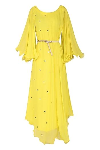 Yellow Asymmetrical Maxi Dress with Belt by Rishi & Vibhuti