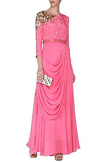 Pink Embellished Drape Maxi Dress with Belt by Rishi & Vibhuti