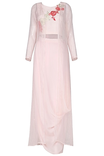 Pink Thread Work Crop Top with Drape Skirt and Cape by Rishi & Vibhuti