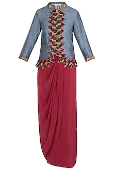 Grey Embellished Criss Cross Jacket with Drape Skirt and Tights by Rishi & Vibhuti