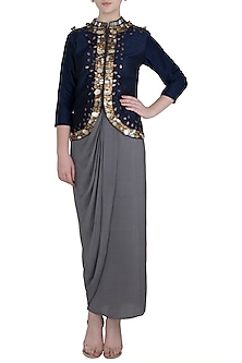 Blue Embellished Jacket with Grey Wrap Around Skirt by Rishi & Vibhuti