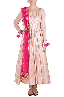 Pink Embroidered Anarkali by Rishi & Vibhuti-BEST SELLERS