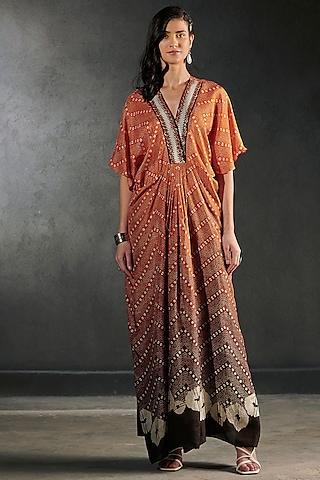 Rust Orange Embroidered Kaftan by Rajdeep Ranawat
