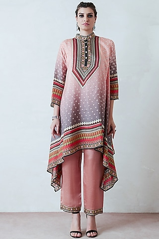 Salmon Pink Draped Tunic Set by Rajdeep Ranawat