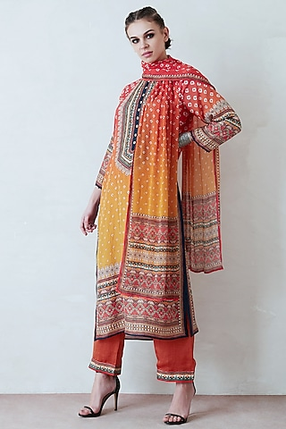 Orange & Yellow Printed Kurta Set by Rajdeep Ranawat