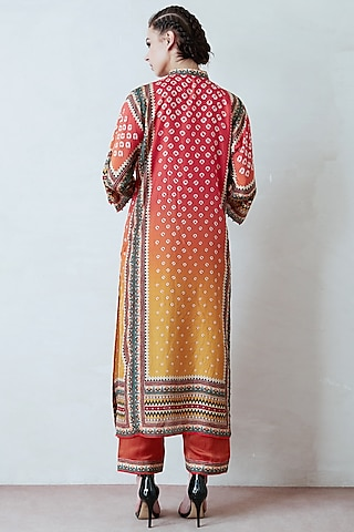 Orange & Yellow Tunic Set by Rajdeep Ranawat