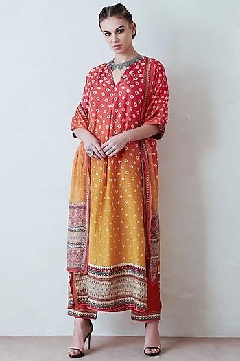 Orange & Yellow Printed Kimono Tunic Set by Rajdeep Ranawat