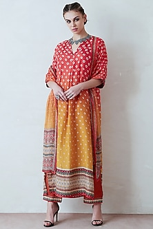 Orange & Yellow Printed Kimono Tunic Set by Rajdeep Ranawat