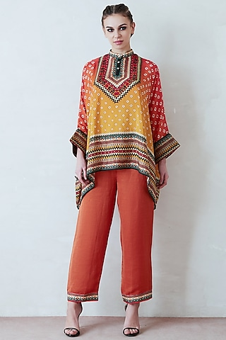 Orange & Yellow Pant Set by Rajdeep Ranawat