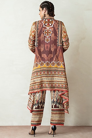 Brown Printed Draped Tunic Set by Rajdeep Ranawat