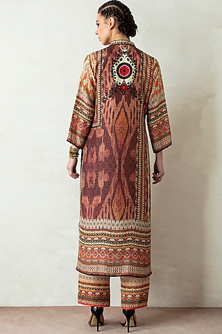 Brown Printed Kurta Set by Rajdeep Ranawat