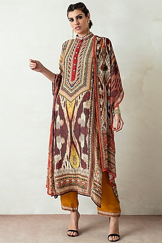 Beige & Brown Printed Paneled Kurta Set by Rajdeep Ranawat