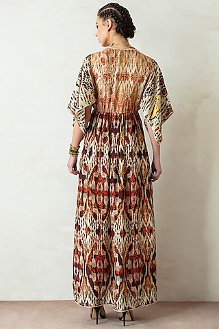 Beige & Brown Dress With Kaftan Sleeves by Rajdeep Ranawat