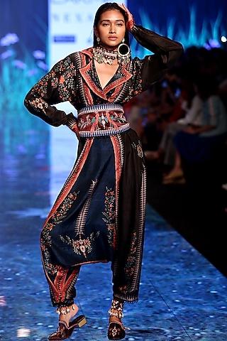 Navy Blue Printed Jumpsuit With Overlap Jacket by Rajdeep Ranawat