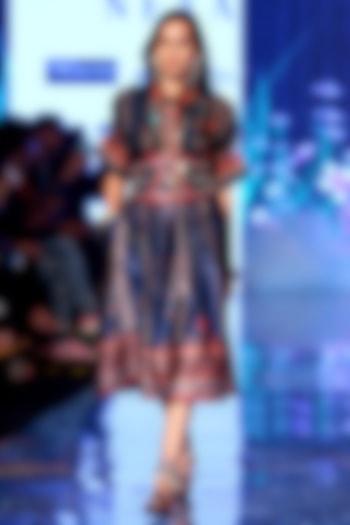 Navy Blue Printed & Embellished Shirt With Skirt by Rajdeep Ranawat
