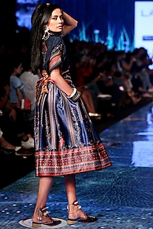 Navy Blue Printed & Embellished Shirt With Skirt by Rajdeep Ranawat