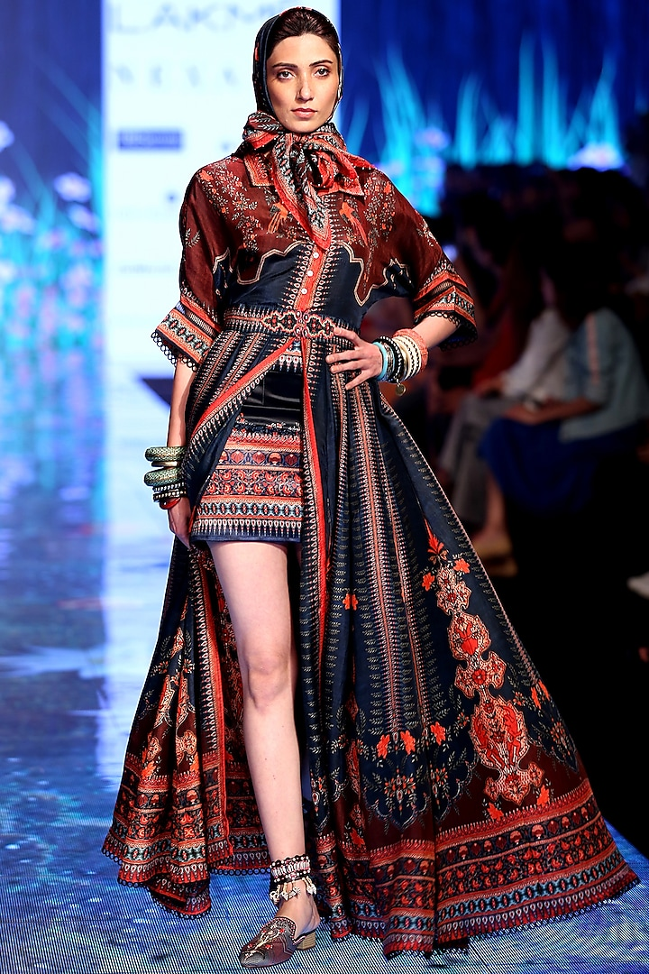 Navy Blue Embroidered Shirt Dress With Skirt & Scarf by Rajdeep Ranawat