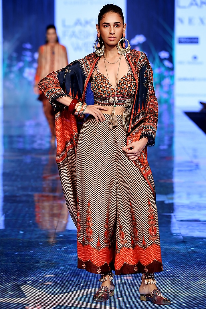 Multi Colored Embroidered Jacket With Bralet & Pants by Rajdeep Ranawat