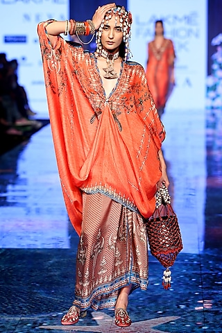 Coral Embroidered Tunic Dress With Draped Skirt by Rajdeep Ranawat