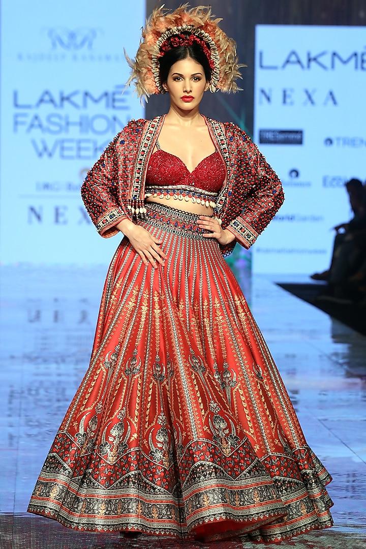 Ruby Red Embroidered Jacket Lehenga Set by Rajdeep Ranawat