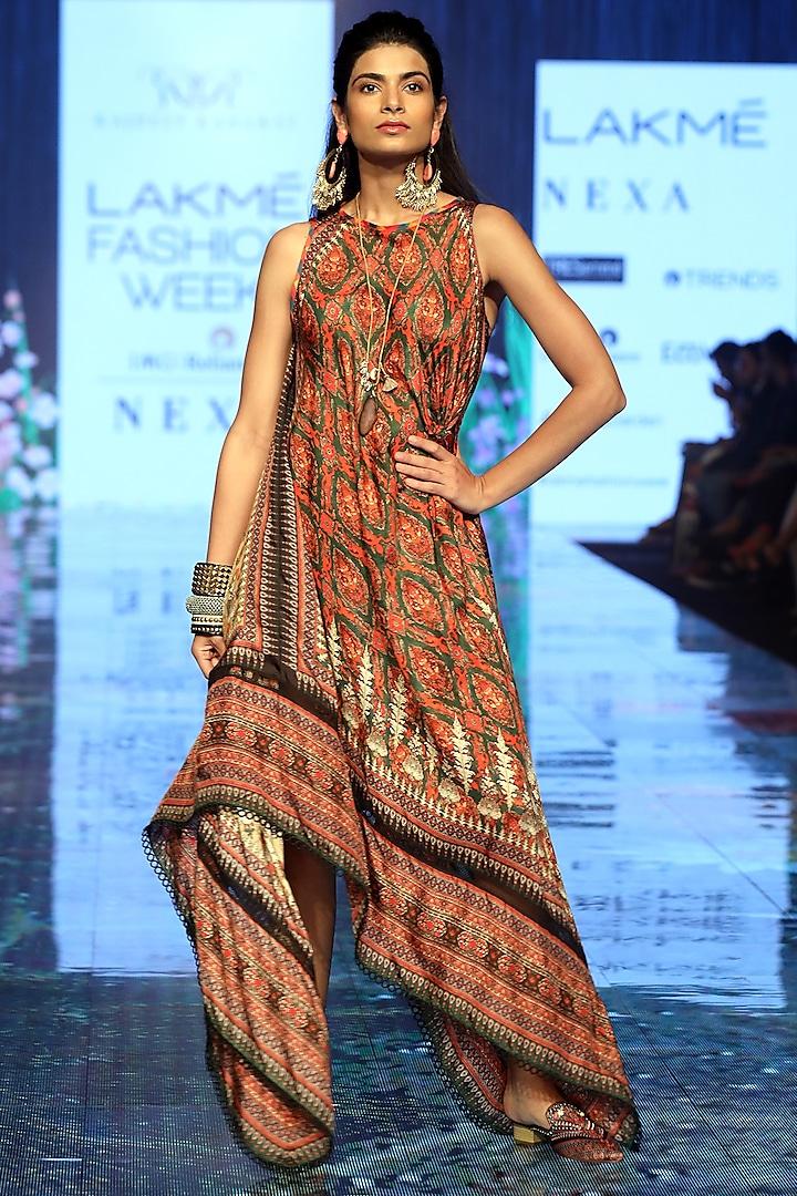 Moss Green Embroidered Dress by Rajdeep Ranawat