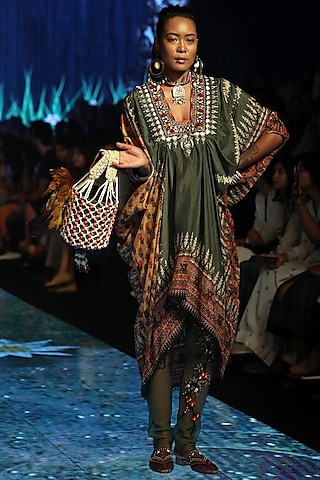 Bottle Green Embroidered Draped Tunic With Pants by Rajdeep Ranawat