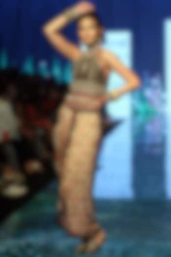 Beige Embroidered Draped Skirt Set by Rajdeep Ranawat