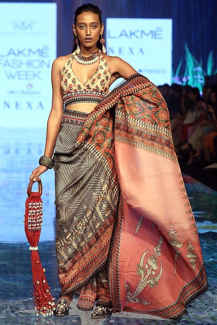 Rose Pink Printed & Embroidered Pre-Draped Saree Set by Rajdeep Ranawat