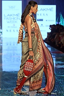 Rose Pink Printed & Embroidered Pre-Draped Saree Set by Rajdeep Ranawat