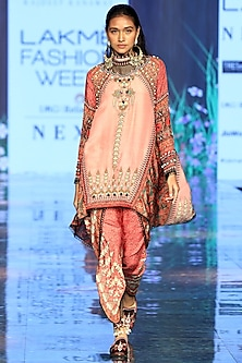 Rose Pink Printed & Embroidered Tunic With Dhoti Pants by Rajdeep Ranawat