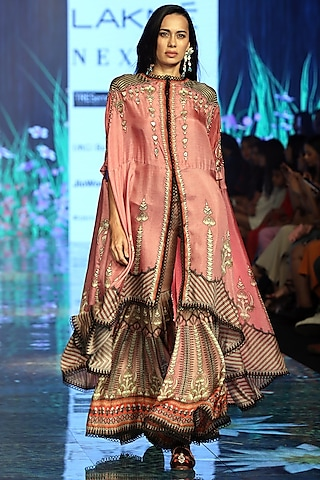 Old Rose Pink Printed & Embroidered Sharara Set by Rajdeep Ranawat