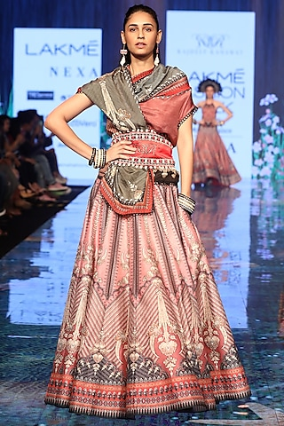 Old Rose Pink Printed & Embroidered Draped Lehenga Set by Rajdeep Ranawat