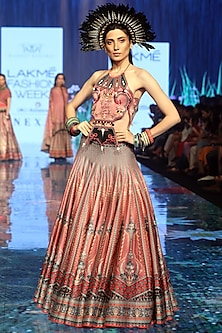 Old Rose Pink Printed & Embroidered Lehenga With Blouse by Rajdeep Ranawat