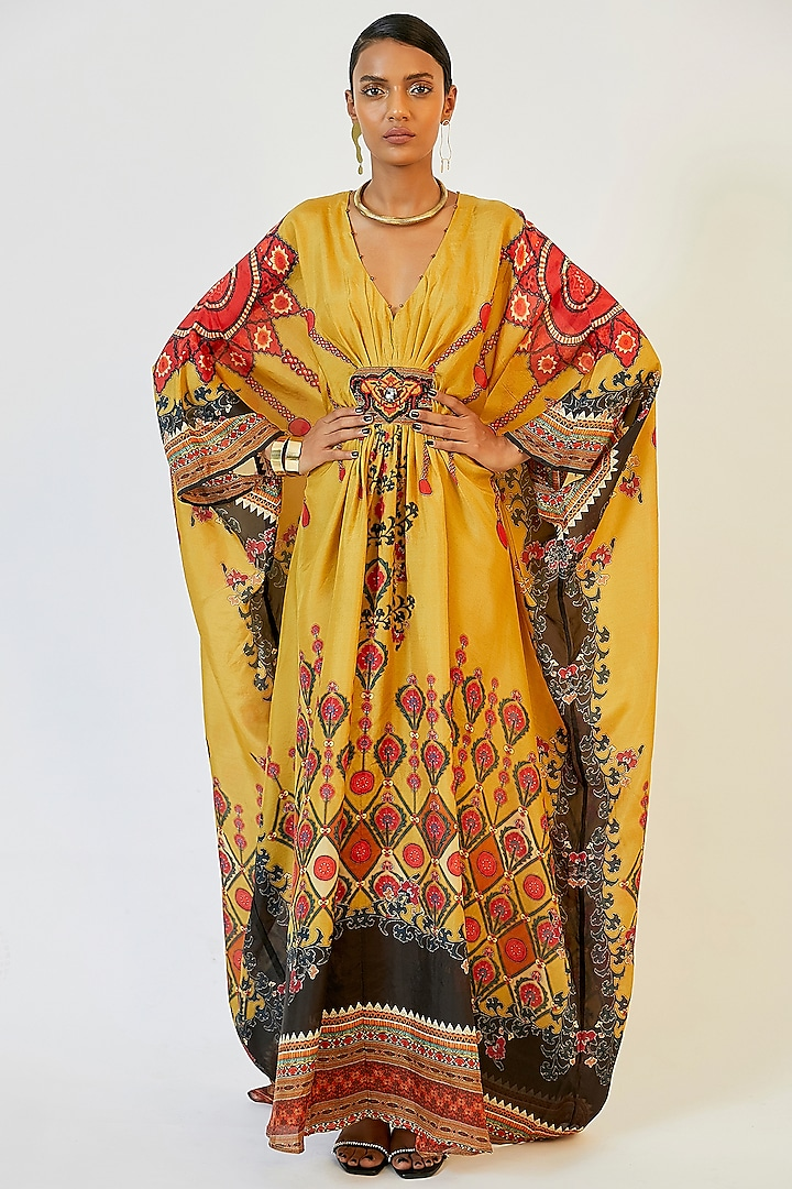 Mustard Printed Kaftan by Rajdeep Ranawat