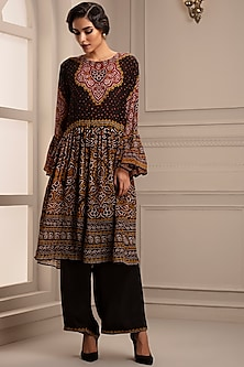 Black Digital Printed Tunic With Pants by Rajdeep Ranawat