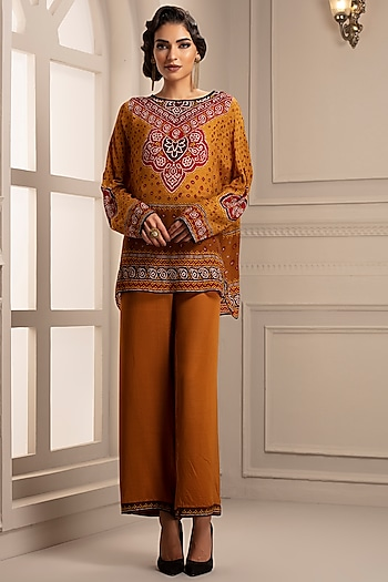Mustard Printed Tunic With Pants by Rajdeep Ranawat