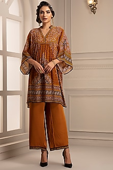 Mustard Printed & Gathered Tunic With Pants by Rajdeep Ranawat