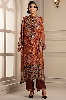 Rust Orange Printed Tunic With Pants by Rajdeep Ranawat