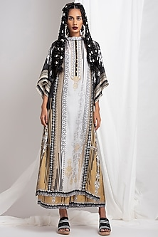Black Printed Tunic With Skirt by Rajdeep Ranawat
