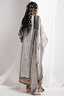 Black Digital Printed Skirt Set by Rajdeep Ranawat