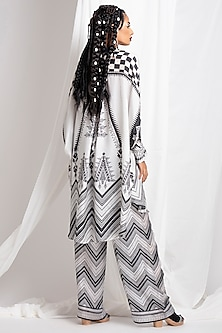 Black Printed Tunic & Palazzo Pants by Rajdeep Ranawat