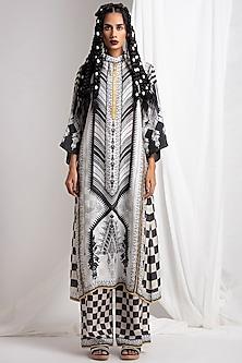 Black Digital Printed Silk Tunic With Pants by Rajdeep Ranawat
