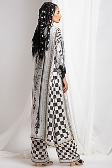 Black Digital Printed Silk Tunic With Pants by Rajdeep Ranawat